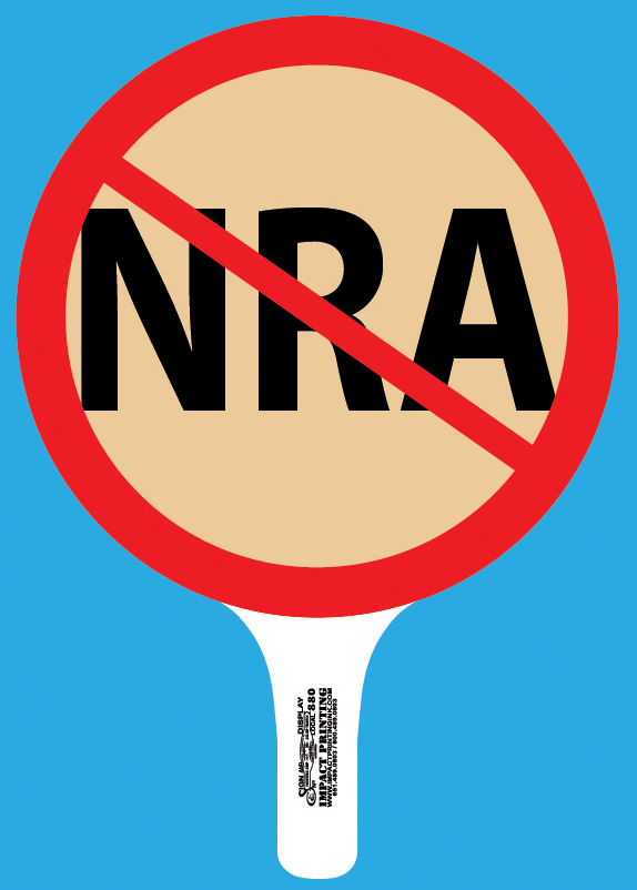 No NRA Hand Held Rally Sign for sale Impact Printing Saint Paul Minnesota.